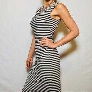 White House Black Market Striped Curvy Bow Dress